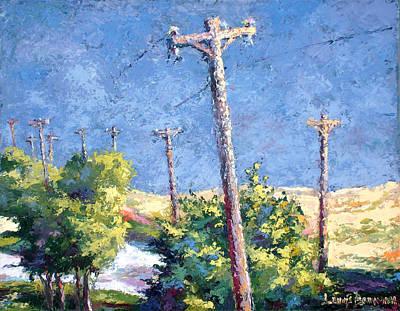 Telephone Poles Before The Rain Art Print