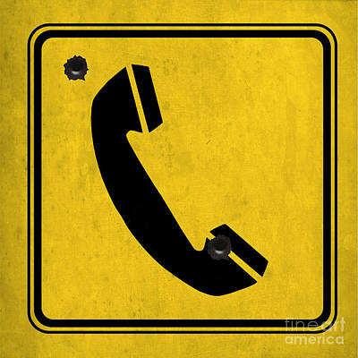 Asphalt Digital Art - Telephone Sign by Pablo Franchi