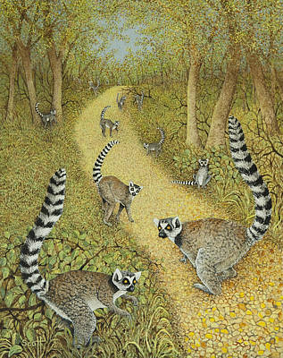 Lemur Painting - Telling Tales by Pat Scott