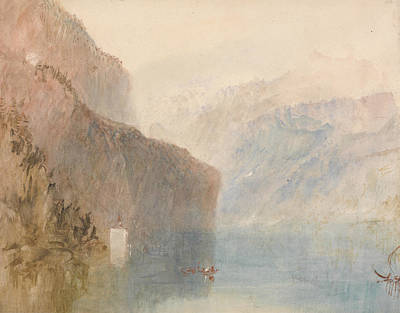 Swiss Landscape Painting - Tell's Chapel Lake Lucerne by Joseph Mallord William Turner
