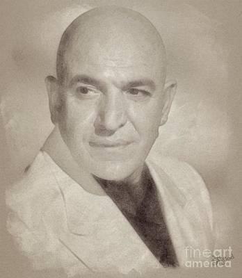 Musicians Drawings - Telly Savalas, Actor - Kojak by John Springfield