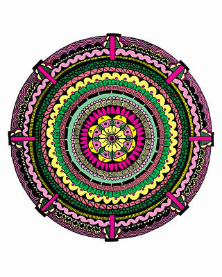 Mandala Drawing - Temblor by Elizabeth Davis