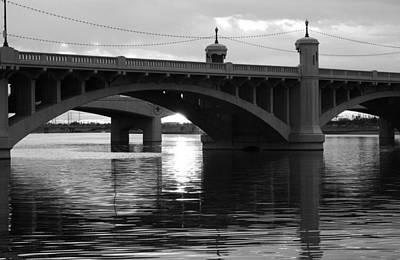 Photograph - Tempe Town Lake Bridge Black And White by Jill Reger