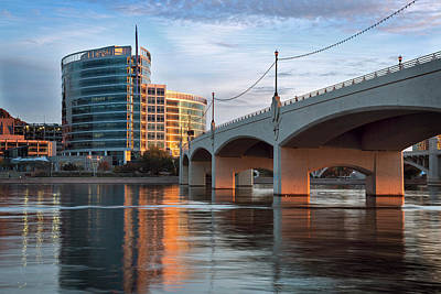 Photograph - Tempe Town Lake Golden Glow by Dave Dilli