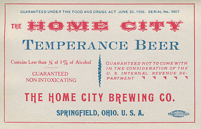Temperance Beer Label Art Print by Tom Mc Nemar