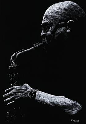 Saxophone Player Pastel - Temperate Sax by Richard Young