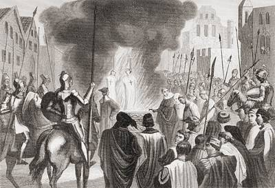 Templars Being Burnt At The Stake. From Art Print by Vintage Design Pics