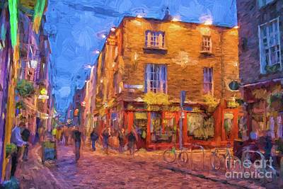 Digital Art - Temple Bar Area In Dublin by Patricia Hofmeester