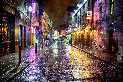 Cityscenes Photograph - Temple Bar At Night - Dublin by Janet Meehan