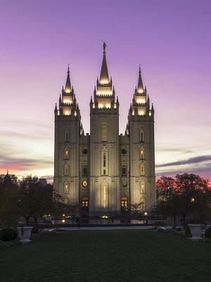 Salt Lake Temple Wall Art - Photograph - Temple Courtyard by Chad Dutson
