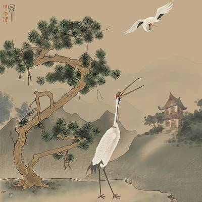 Abstract Realist Landscape Painting - Temple Cranes by Phillip Altstatt