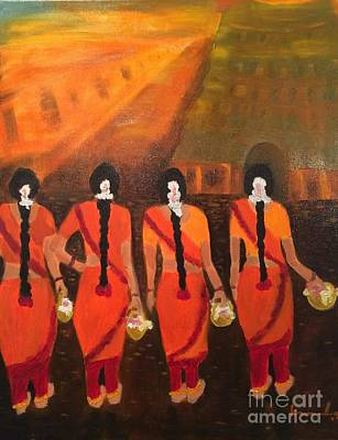 Painting - Temple Dancers by Brindha Naveen