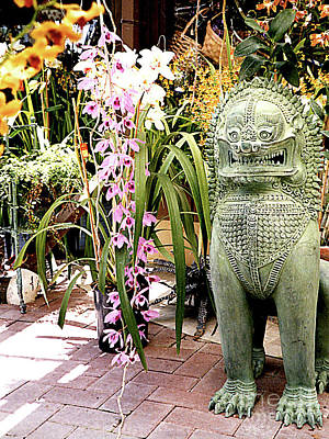 Photograph - Temple Dog Guarding Flowers - Hotel Lobby In Hawaii by Merton Allen
