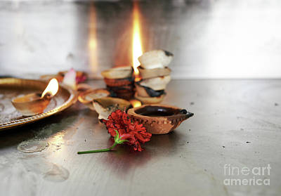 Photograph - Temple Flower And Candles by Dean Harte