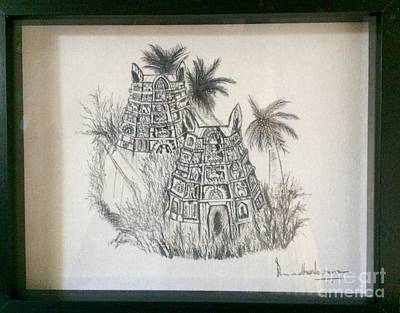 Painting - Temple In Calligraphy Ink by Brindha Naveen