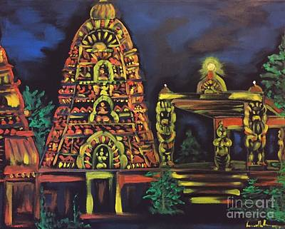 Painting - Temple Lights In The Night by Brindha Naveen