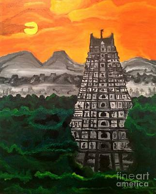 Painting - Temple Near The Hills by Brindha Naveen