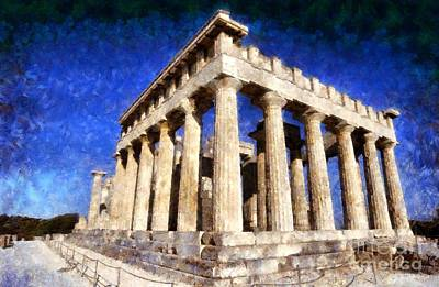 Ancient Painting - Temple Of Aphaia Athena In Aegina Island by George Atsametakis