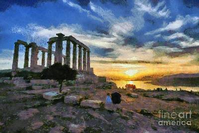 Painting - Temple Of Poseidon, In Sounio, During Sunset by George Atsametakis