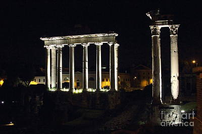 Photograph - Temple Of Saturn At Night by Angela Rath