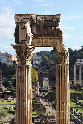 Photograph - Temple Of Saturn Ruins by Angela Rath