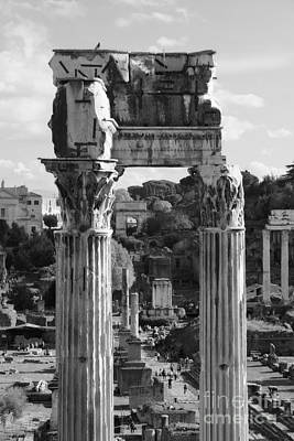 Photograph - Temple Of Saturn Ruins In Black And White by Angela Rath
