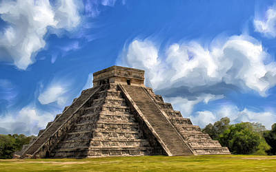 Chichen Itza Painting - Temple Of The Feathered Serpent by Dominic Piperata