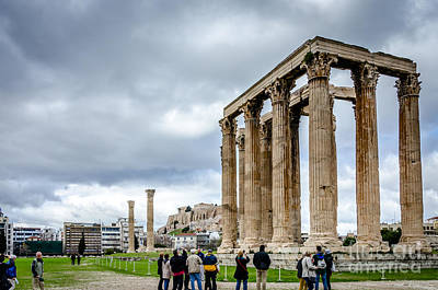 Photograph - Temple Of Zeus And Acropolis - Athens Greece by Debra Martz