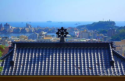 Photograph - Temple Roof And Kaohsiung Port by Yali Shi