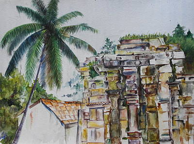 Tamilnadu Painting - Temple Ruins by Asiff Iqbal