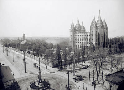 Temple Square In Winter - Salt Lake City -  1905 Art Print