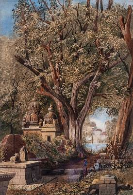 Middleton Painting - Temples And Burial Ground Near Poona by Julius Middleton