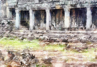 Temples At Angkor Art Print by Shirley Stalter