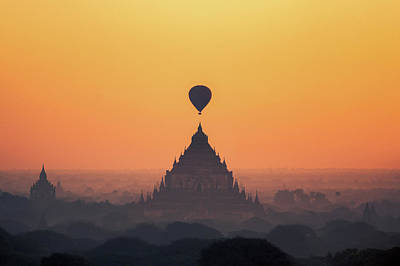 temples in Bagan with hot air balloon for traval on sun rise and Art Print by Anek Suwannaphoom