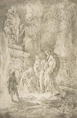 Relief - Temporalis Aeternitas, Four Scholars Amongst Ruins by Giovanni Benedetto Castiglione