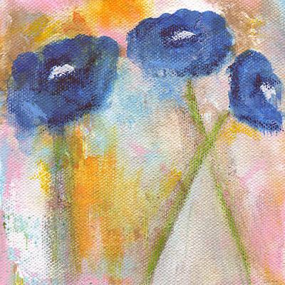 Abstract Flowers Mixed Media - Temporary Crossroads- Floral Art by Linda Woods by Linda Woods