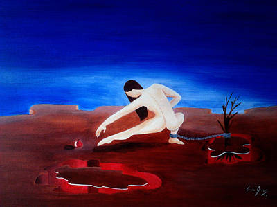 Painting - Temptation And Ancestral Fear Of Hell by Laura Greco