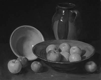 Painting - Ten Apples And Earthenware by Robert Holden