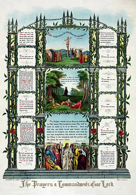 Ten Commandments Of Our Lord  1890 Art Print by Daniel Hagerman