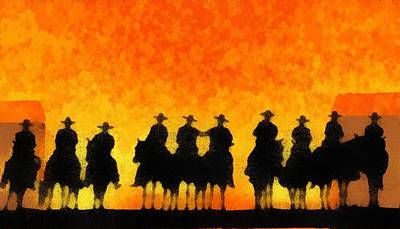 Digital Art - Ten Cowboys by Carrie OBrien Sibley
