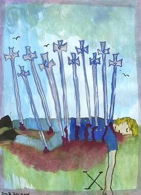Ten Of Swords Illustrated Art Print by Sushila Burgess