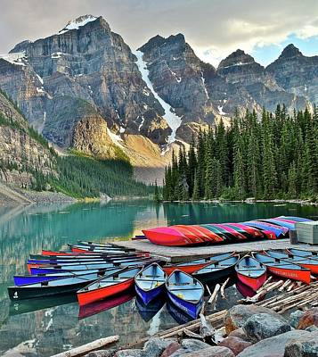 Photograph - Ten Peaks And Canoes by Frozen in Time Fine Art Photography