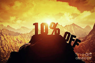 Photograph - Ten Percent Off Writing On A Mountain Peak. by Michal Bednarek