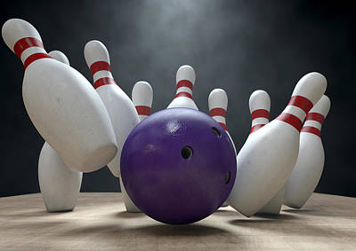 Knock Digital Art - Ten Pin Bowling Pins And Ball by Allan Swart