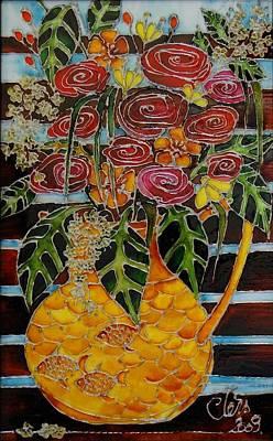 Ten Roses On A Bench Art Print by Cornelia Tersanszki