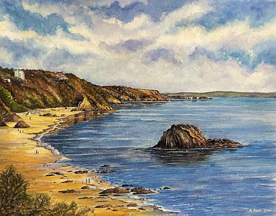 North Sea Painting - Tenby Beach by Andrew Read