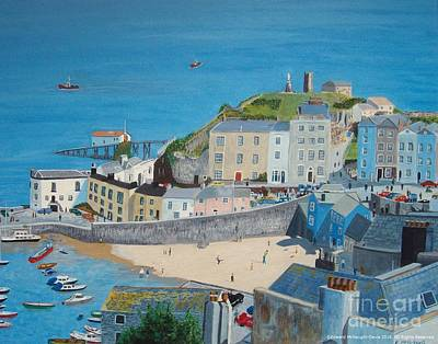 Tenby Harbour Painting - Tenby Harbour Beach In Pembrokeshire Wales by Edward McNaught-Davis