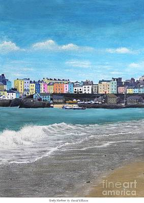 Tenby Harbour Painting - Tenby Harbour In Wales by David Elliston