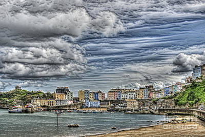 Photograph - Tenby Harbour Texture Effect by Steve Purnell