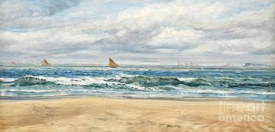 Seascape Oil Painting - Tenby by John Brett